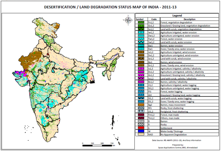 Land Degradation Map of India 2011-2013 prepared by ISRO.