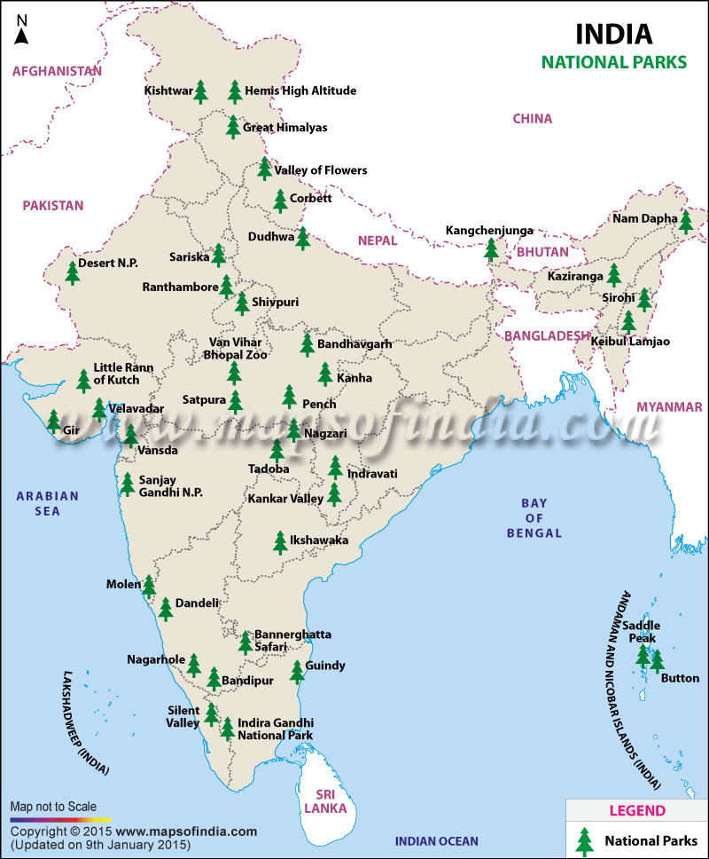 Map of National Parks in India