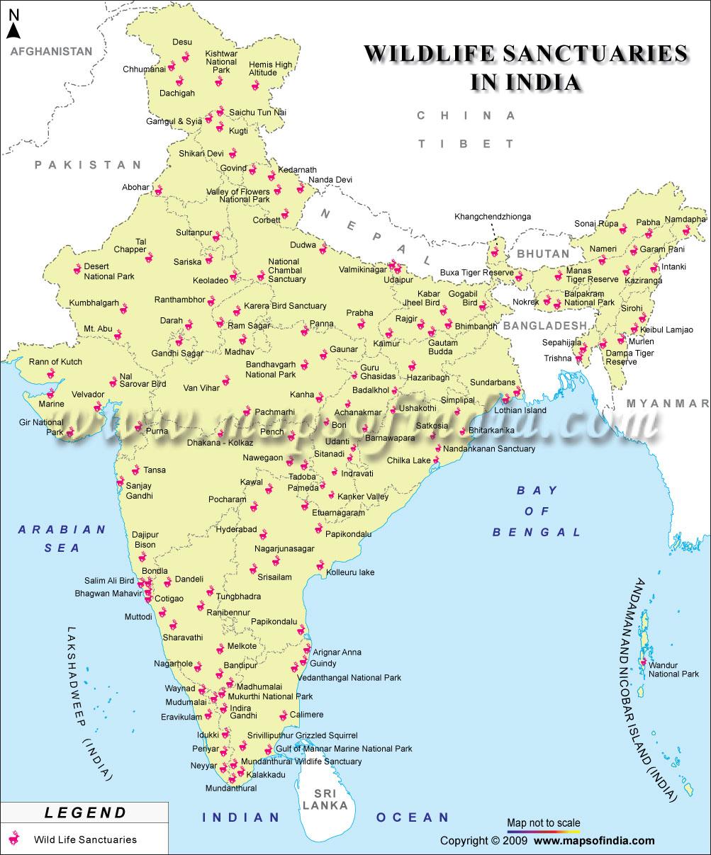 Map of Wildlife Sanctuaries in India