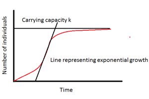 Population growth curve in an ecosystem, with exponential growth r and carrying capacity k