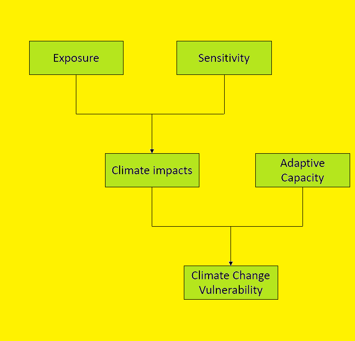Climate change vulnerability is defined using exposure, sensitivity and adaptive capacity.