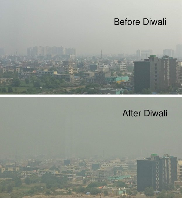 Delhi before and after Diwali.