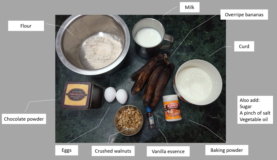labelled ingredients for the banana walnut cake